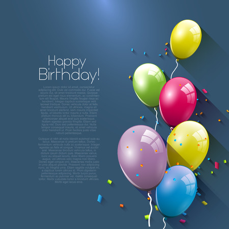 welcoming party: Birthday greeting card with colorful balloons and place for your text