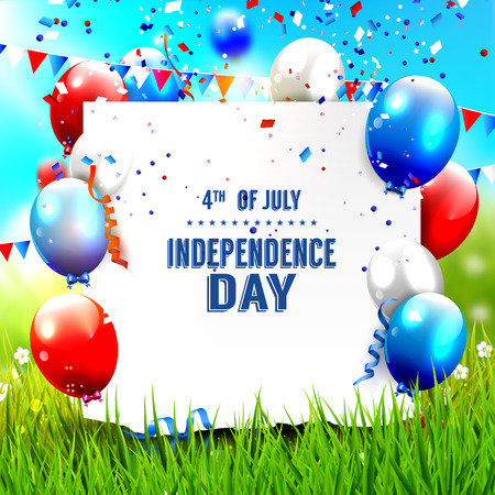 Independence day - vector background with balloons and palce for your text