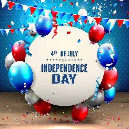 julio: 4 de julio - Día de la Independencia celebración de fondo con globos de fiesta y el lugar de su texto Vectores
