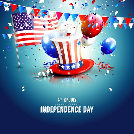 party hats: 4th of July - Independence day celebration background with place for your text