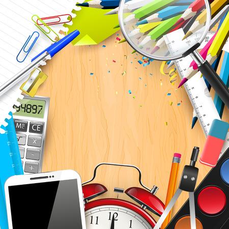 school desk: School supplies on the school desk