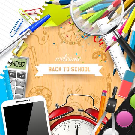 Школа: Школьные принадлежности на парте - Вернуться к концепции школы