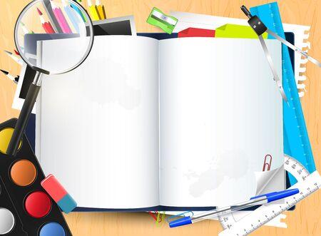 fournitures scolaires: Ouvrez le Bloc-notes avec la place pour votre texte et des fournitures scolaires sur le bureau de l'�cole