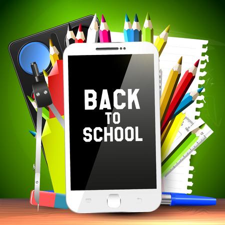 escuelas: Útiles escolares y el teléfono inteligente - Volver al concepto de escuela Vectores