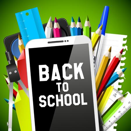 Школа: Школьные принадлежности и смартфон - Вернуться к концепции школы Иллюстрация