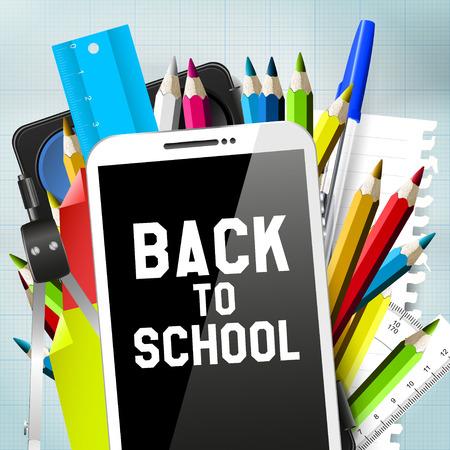 Tanszerek és okostelefon - Back To School Concept