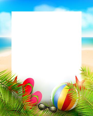 Nyári háttér üres papír, pálmalevelek, strandlabda, napszemüveg és strandpapucs