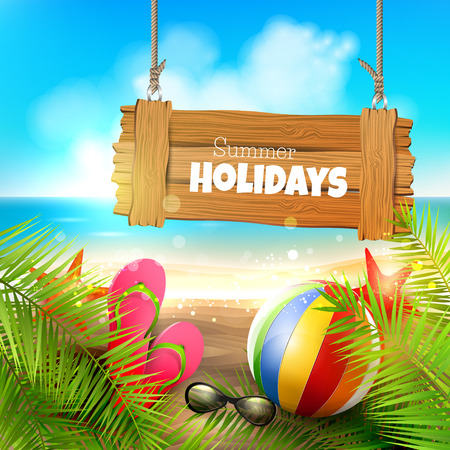 sunny beach: Summer holidays - background with wooden sign on the beach