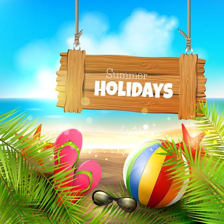 viaggi: Vacanze estive - sfondo con cartello in legno sulla spiaggia Vettoriali