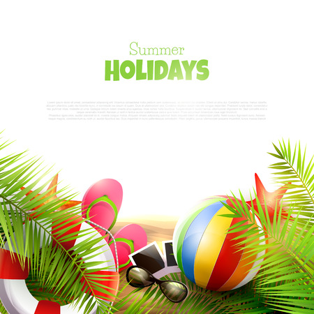 sunglasses recreation: Summer holidays background with place for your text Illustration