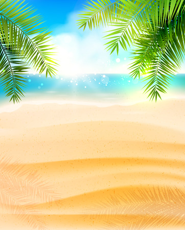 sunny beach: Seaside view on beautiful sunny beach with palm leaves - vector background