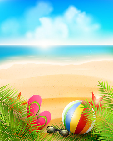 Seaside view on beautiful sunny beach with palm leaves, beach ball, sunglasses and flip-flops - vector background