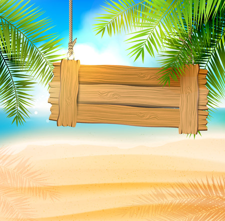 Seaside view on beautiful sunny beach with palm leaves and wooden sign Vectores