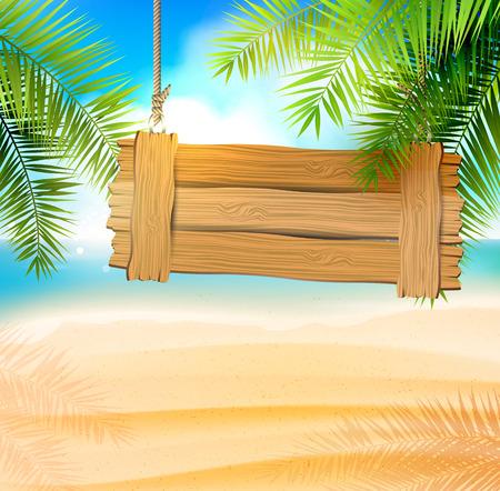 Zeezicht op mooie zonnige strand met palmbladeren en houten bord