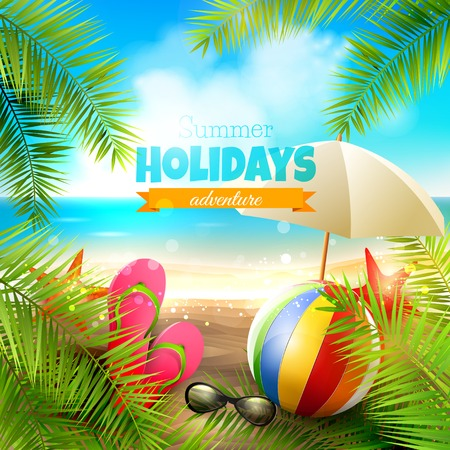 sand: Seaside view on beautiful sunny beach with palm leaves, beach ball, sunglasses and flip-flops - vector background