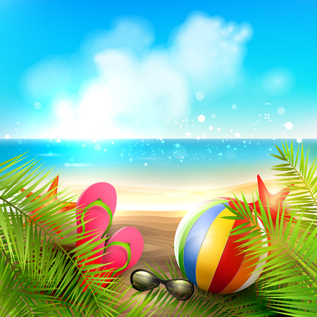 tropical island: Seaside view on beautiful sunny beach with palm leaves, beach ball, sunglasses and flip-flops - vector background