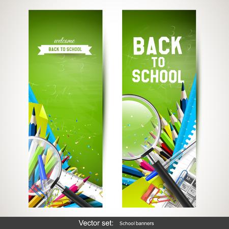 utiles escolares: Vector conjunto de dos pancartas escolares verticales