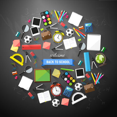 school children: Back to school flat style background created from school supplies