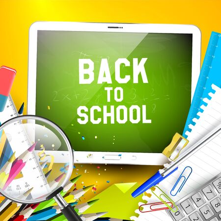 child education: Digital tablet and school supplies on yellow background - Back to School background