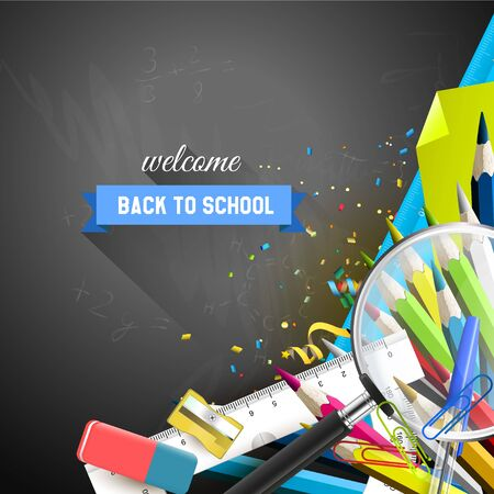 supplies: School supplies on the blackboard - school background with place for your text
