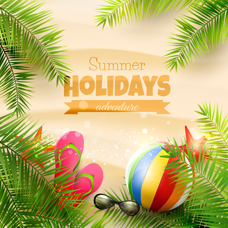 Summer background with with palm leaves, beach ball, sunglasses and flip-flops on the beach - vector background