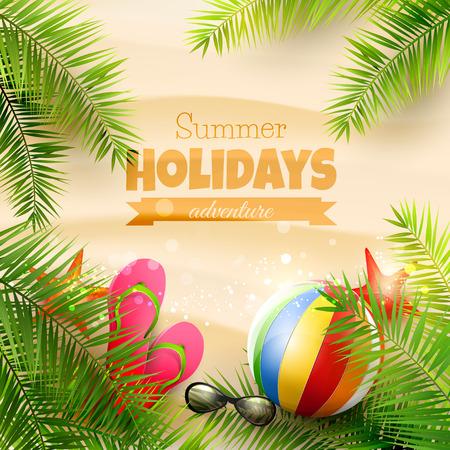 Zomer achtergrond met met palmbladeren, strand bal, zonnebril en flip-flops op het strand - vector achtergrond