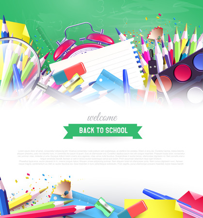 text background: Colorful school supplies on green chalkboard - back to school background with place for your text