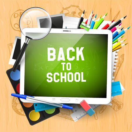 niños en la escuela: Tableta digital delante de útiles escolares - Volver al concepto de escuela