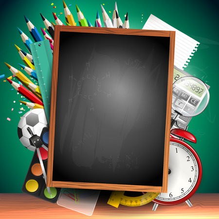 crayons: School background with school supplies and empty blackboard with place for your text