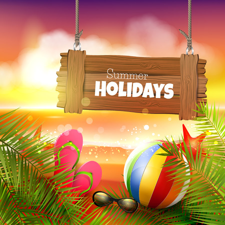 flipflops: Summer background with with palm leaves, beach ball, sunglasses and flip-flops on the beach - vector background