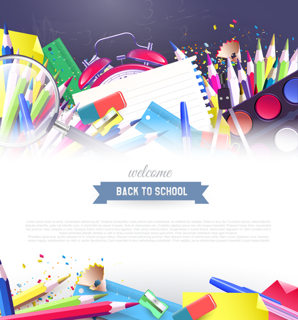 protractor: Colorful school supplies on the blackboard - back to school background with place for your text