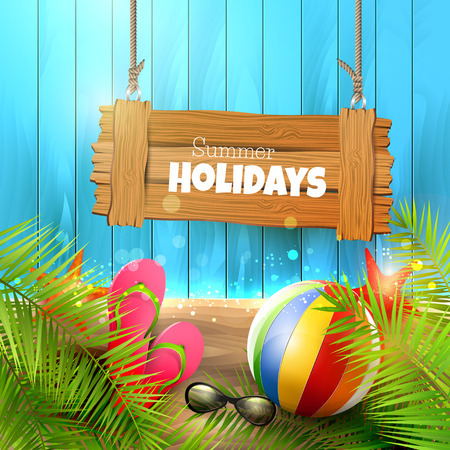 Summer background with with wooden sign,palm leaves, beach ball, sunglasses and flip-flops on wooden background