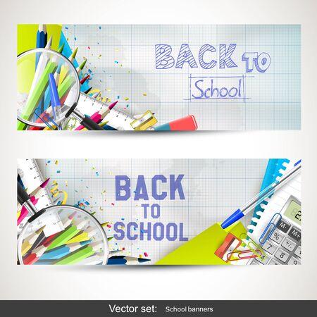 utiles escolares: Volver a la escuela - Conjunto de dos banderas horizontales con útiles escolares Vectores