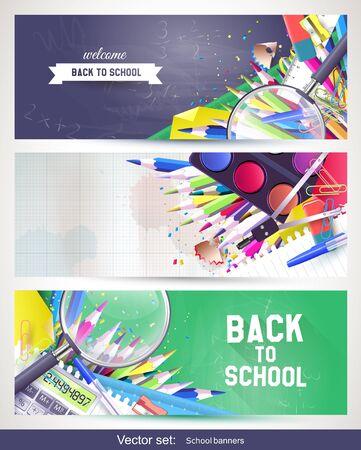 Vector set of three horizontal school banners