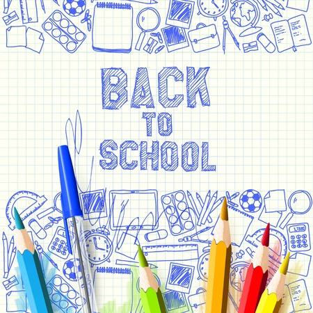 Colorful pencils on hand drawn background - Back to School concept