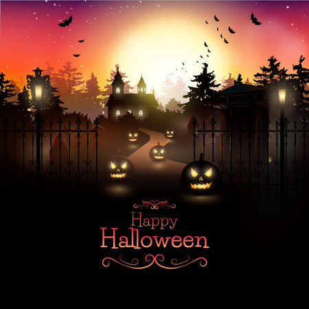 Scary graveyard in the woods - Halloween background Stock Illustratie