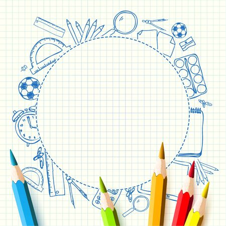 protractor: Colorful pencils on white paper - School background with palce for your text Illustration