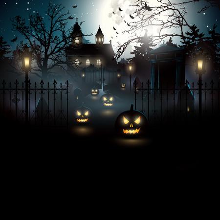 background herfst: Eng kerkhof in het bos - Halloween achtergrond Stock Illustratie