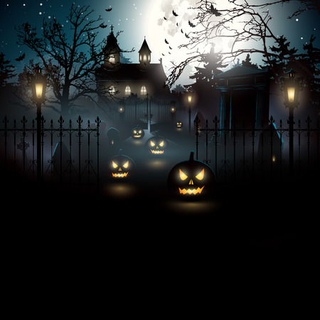 halloween bats: Scary graveyard in the woods - Halloween background Illustration