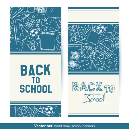 protractor: Vector set of two Back to School hand drawn banners Illustration