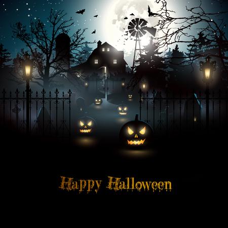 Eng kerkhof en boerderij in het bos - Halloween achtergrond