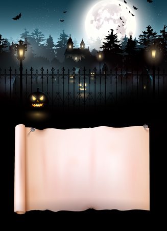 Scary graveyard in the woods - Halloween flyer with place for your text