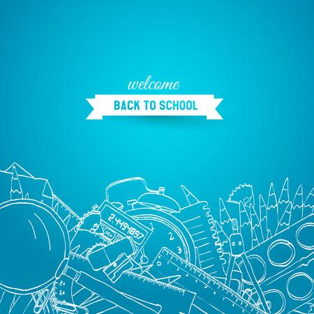 niños estudiando: Volver al dibujado a mano Fondo de la escuela Vectores