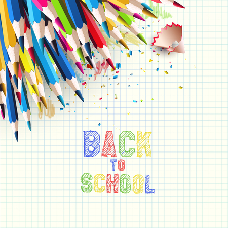 Colorful pencils on white paper - Back to School background