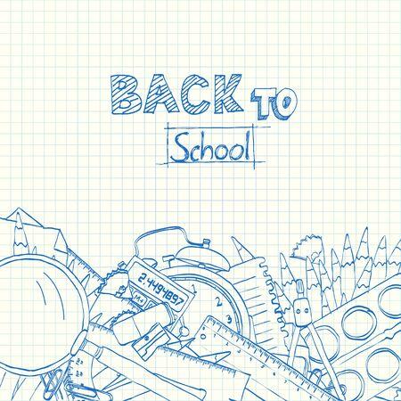 child studying: Back To School hand drawn background Illustration