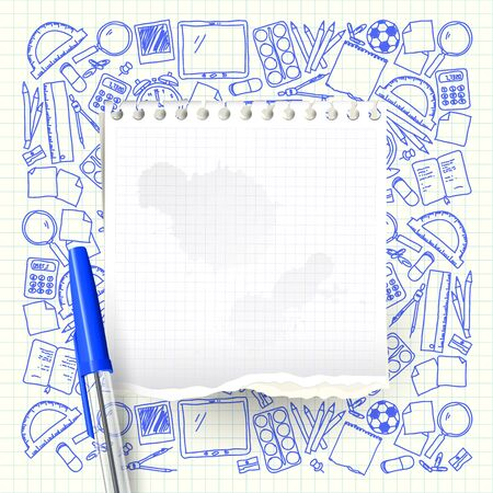 Empty paper and hand drawn school supplies on the background
