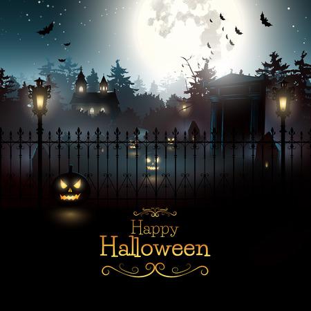 festa: Cemitério assustador na floresta - Fundo de Halloween Ilustração