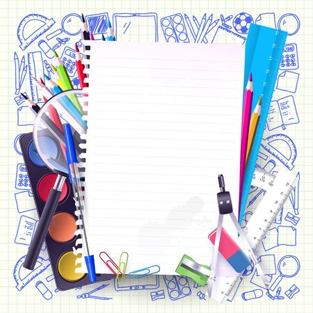 protractor: School stationery and empty paper on hand drawn background Illustration