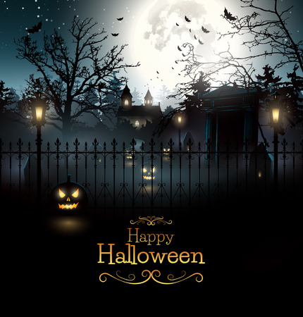 Scary graveyard in the woods - Halloween background Vectores