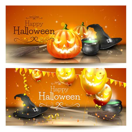 Vektor-Satz von zwei Halloween-Banner Standard-Bild - 45534318